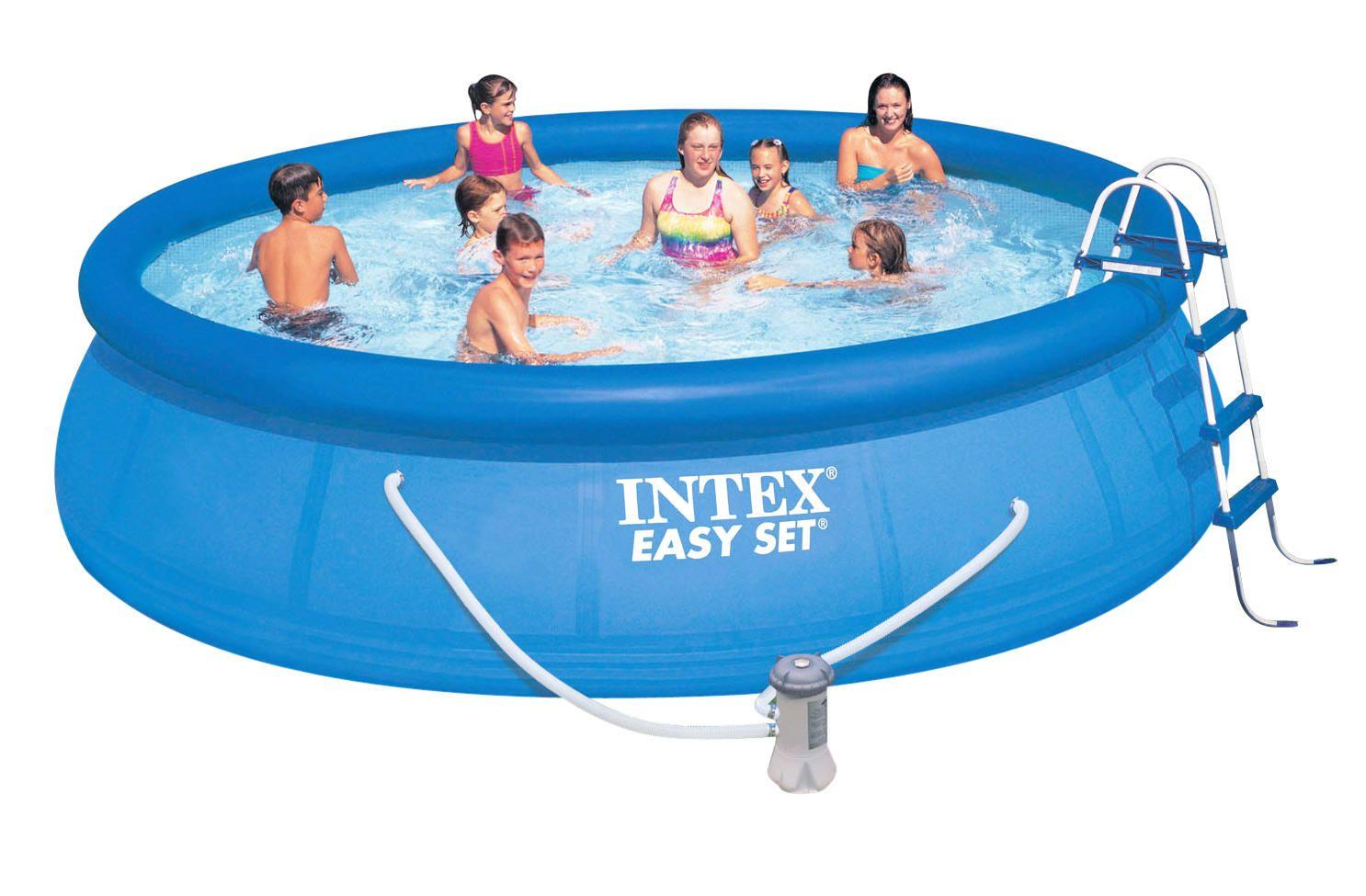 Надувной бассейн Intex Easy Set 28166/54908 457х107 см + фильтр-насос, картриджный фильтр, лестница, подстилка, покрывало
